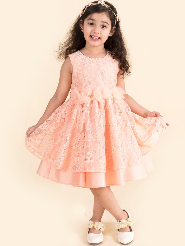 Pspeaches Girls Peach Fit   Flare Midi Net Dress