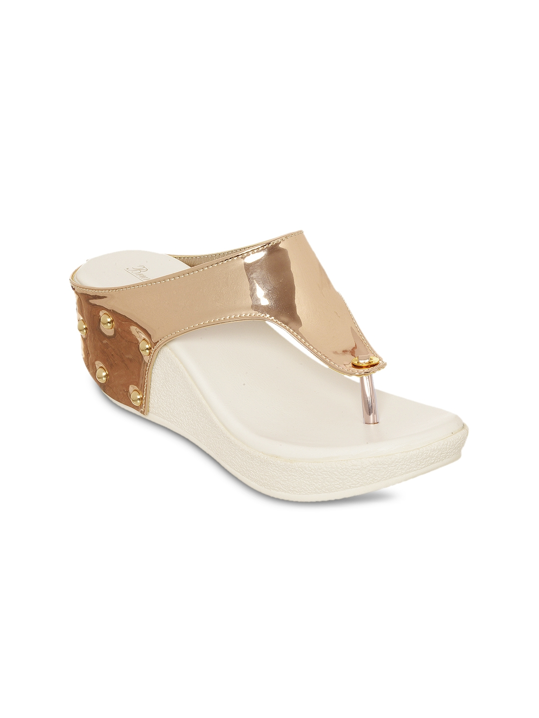 Bruno Manetti Women Gold Toned Solid Wedges