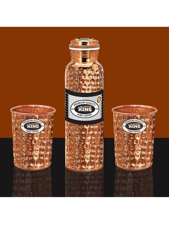 MR. COPPER KING Copper Toned Hammered Water Bottle   Tumbler Set