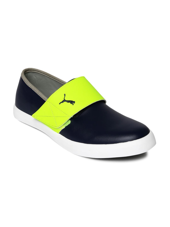 53f99e20c574 Buy Puma Men Navy   Neon Green El Rey Milano II Colourblocked Sneakers -  Casual Shoes for Men 1559533