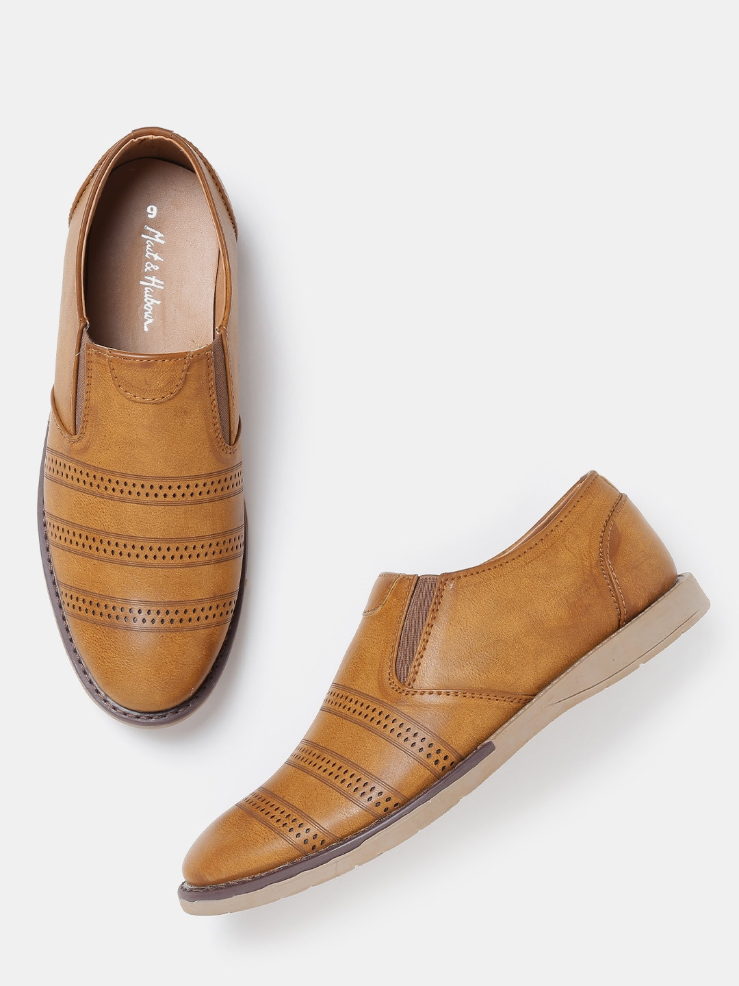 7a3587263d7 Buy Mast   Harbour Men Tan Brown Solid Loafers - Casual Shoes for ...