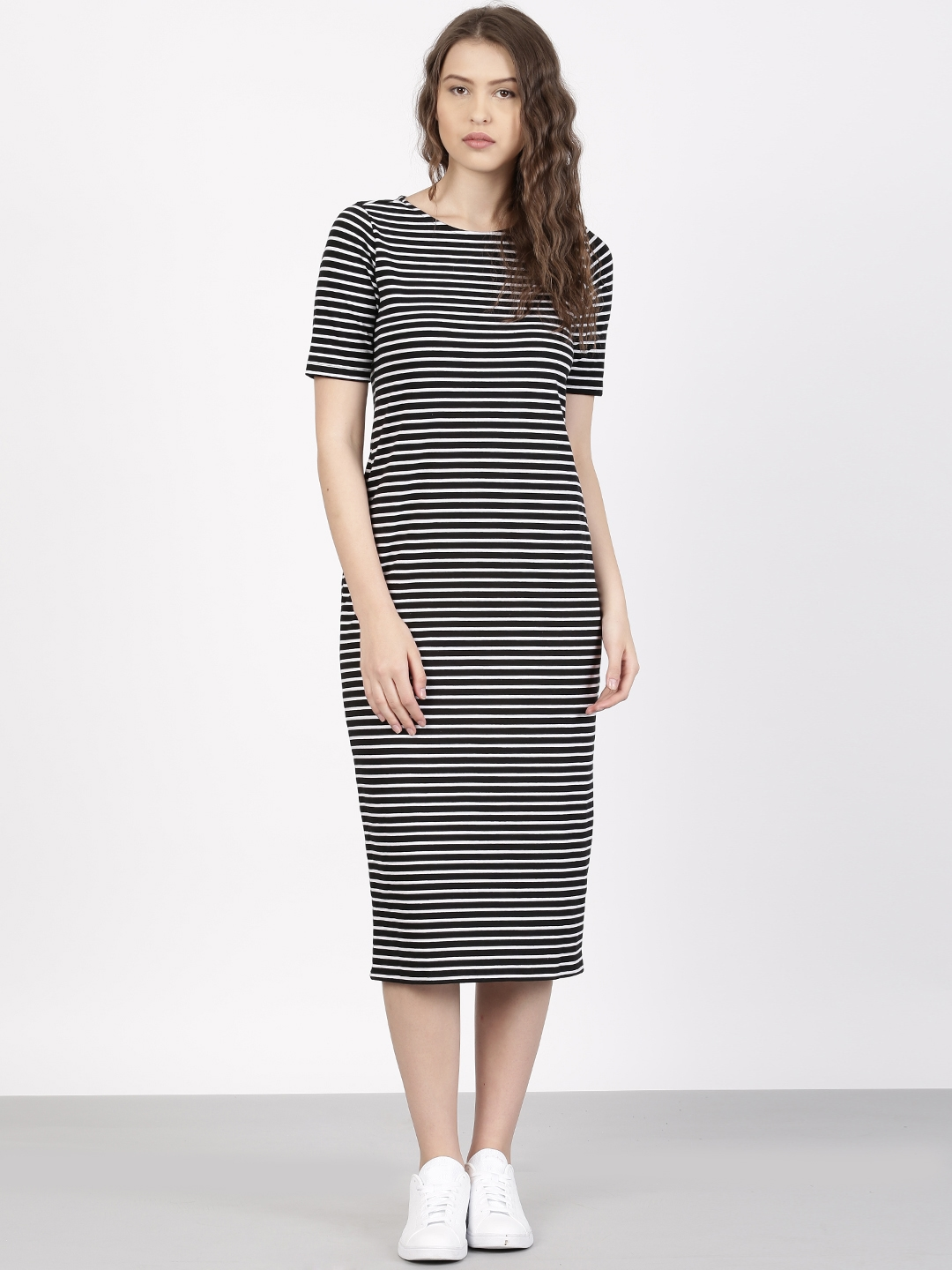 fbae4475bef1 Buy Ether Women Black   White Striped Bodycon Midi Dress - Dresses ...