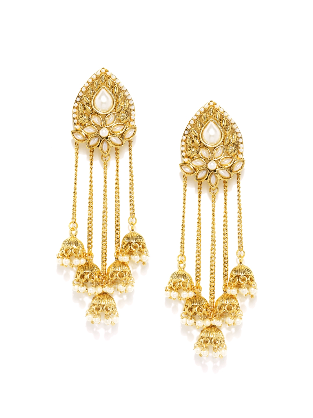 Sukkhi Red Goldplated Beaded Drop Earrings