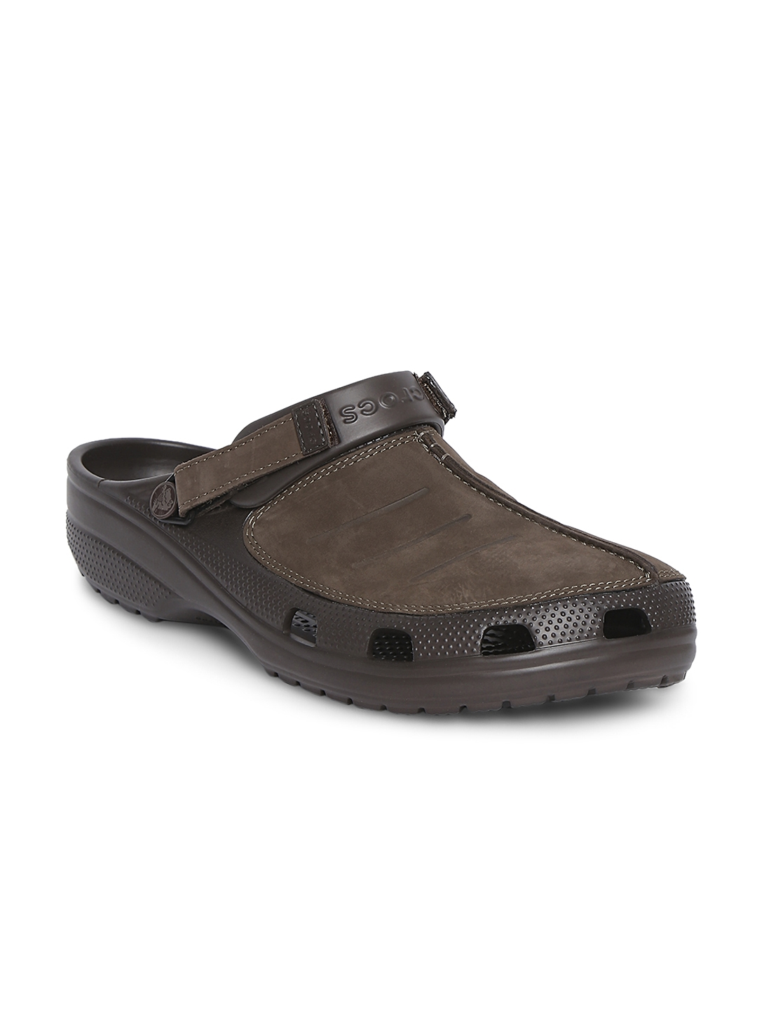 b19eadba8a614 Buy Crocs Men Brown Genuine Leather Clogs - Flip Flops for Men ...