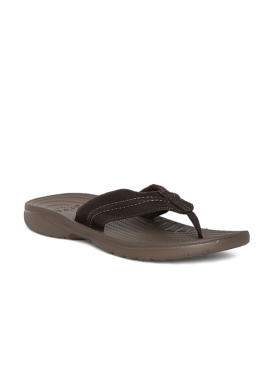 bc027d09858 Buy Crocs Men Brown Genuine Leather Flip Flops - Flip Flops for Men ...