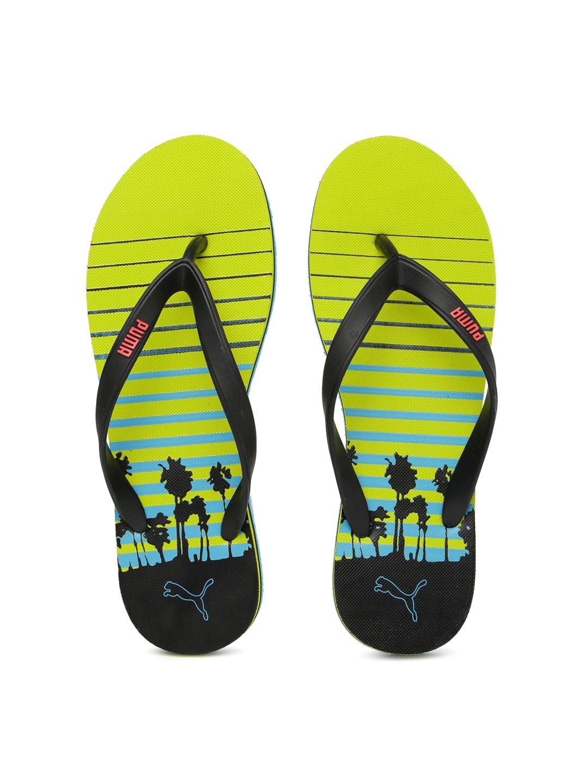 ba5e6a560b07dd Buy PUMA Men Black   Lime Green Printed Grace DP Flip Flops - Flip ...