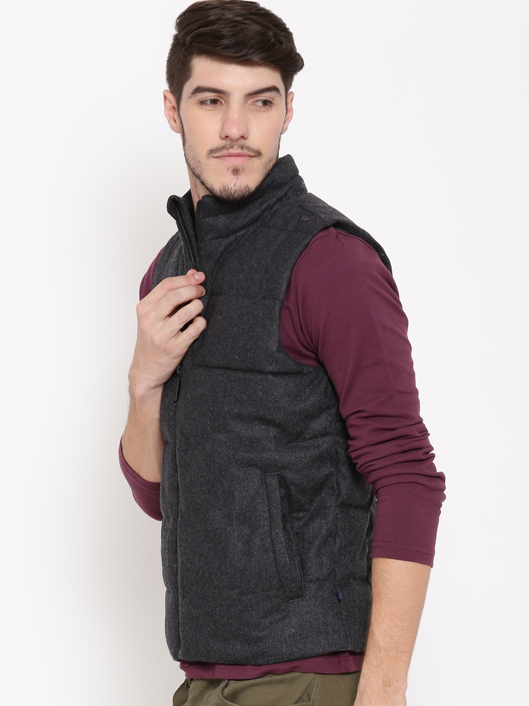 8591d76c9 Buy United Colors Of Benetton Charcoal Grey Sleeveless Padded Jacket ...