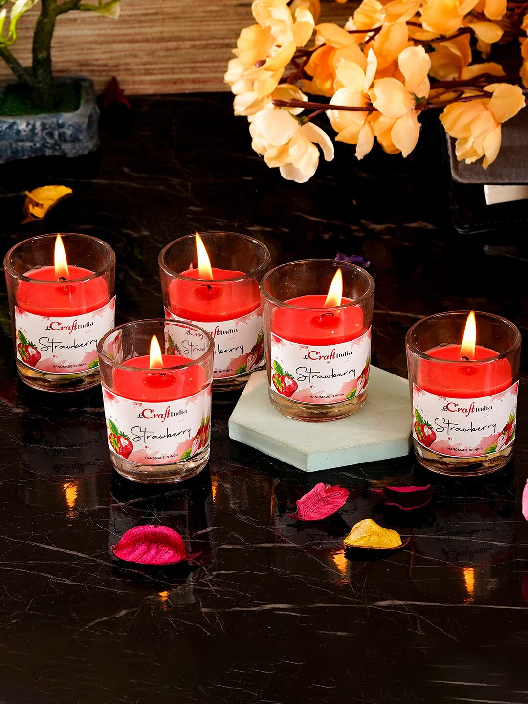 eCraftIndia Set of 5 Strawberry Scented Glass Candle