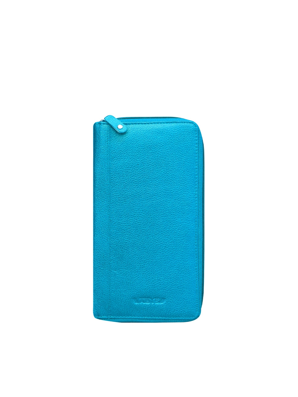 ABYS Unisex Blue Leather Passport Holder With Passport Holder