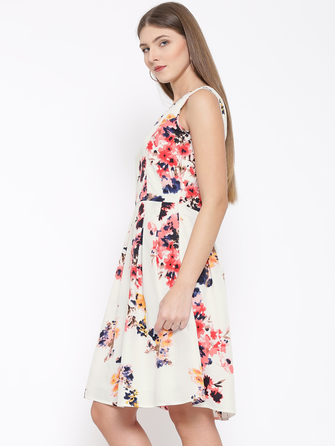 3416520353066 Buy RARE Women Off White Floral Print Fit & Flare Dress - Dresses ...