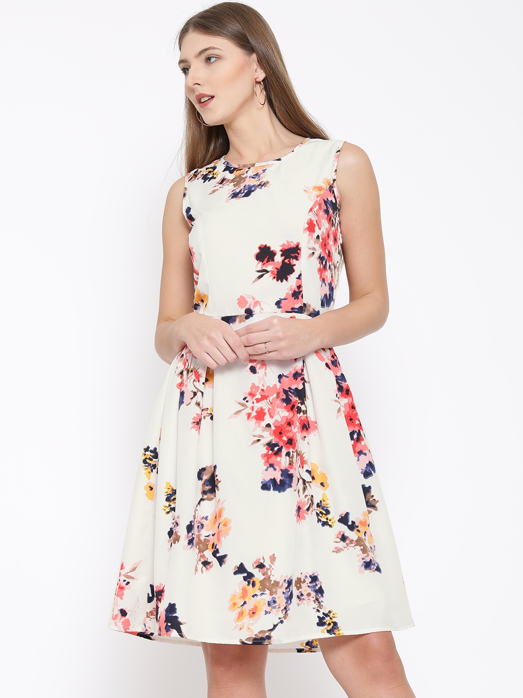 84d490a1ea Buy RARE Women Off White Floral Print Fit & Flare Dress - Dresses for Women  | Myntra