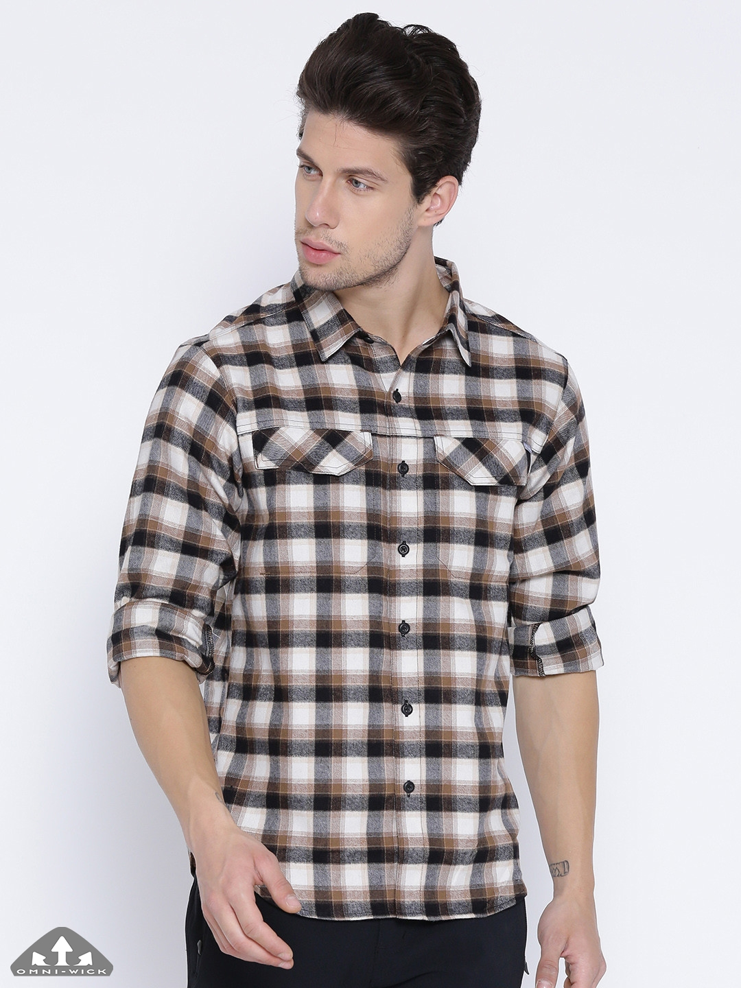 142dc9d41b2 Columbia Men Cream-Coloured & Brown Silver Ridge Flannel Checked Outdoor  Shirt