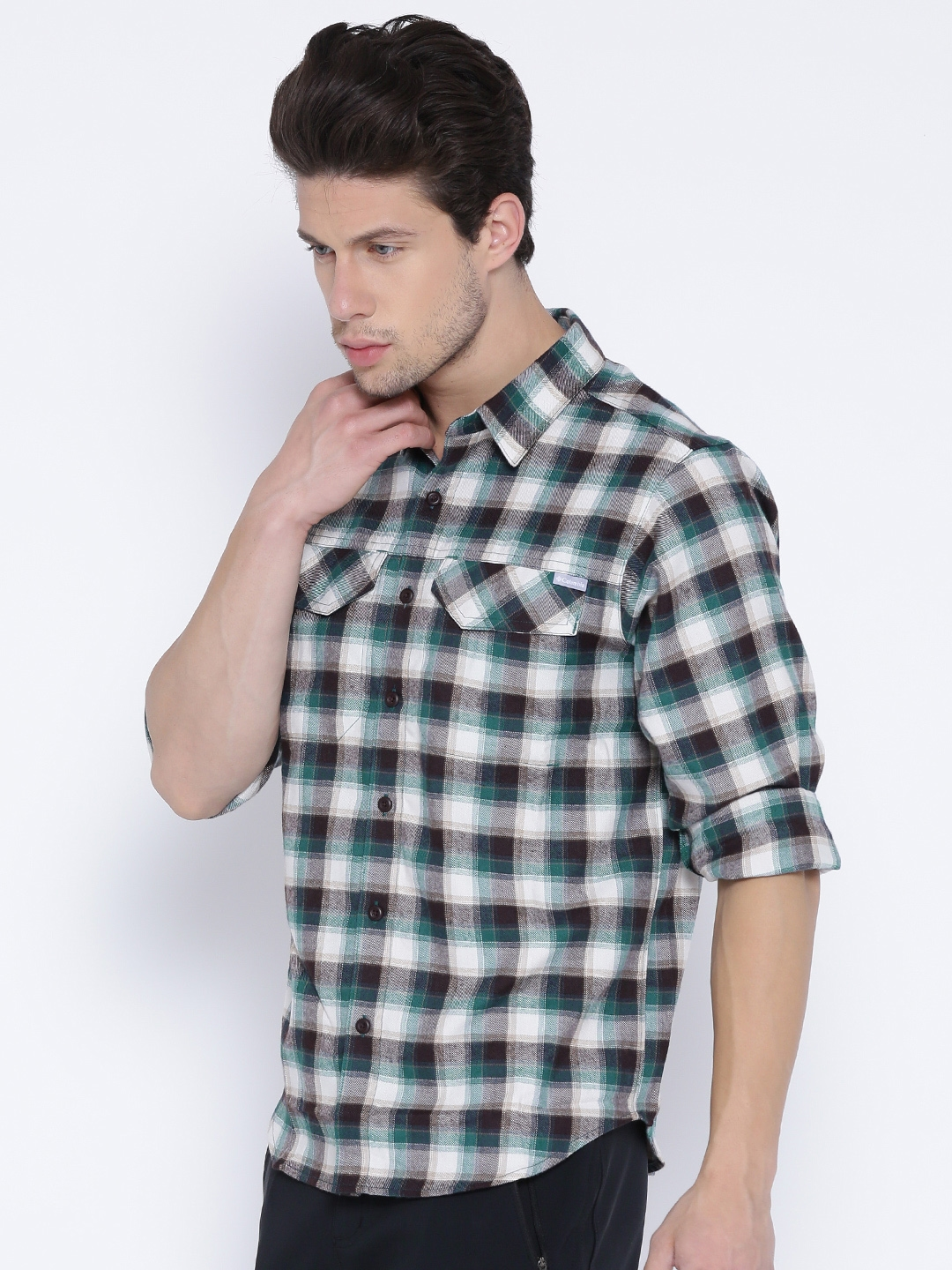 070f0041161 Columbia Men Teal Green & Cream-Coloured Silver Ridge Flannel Checked  Outdoor Shirt