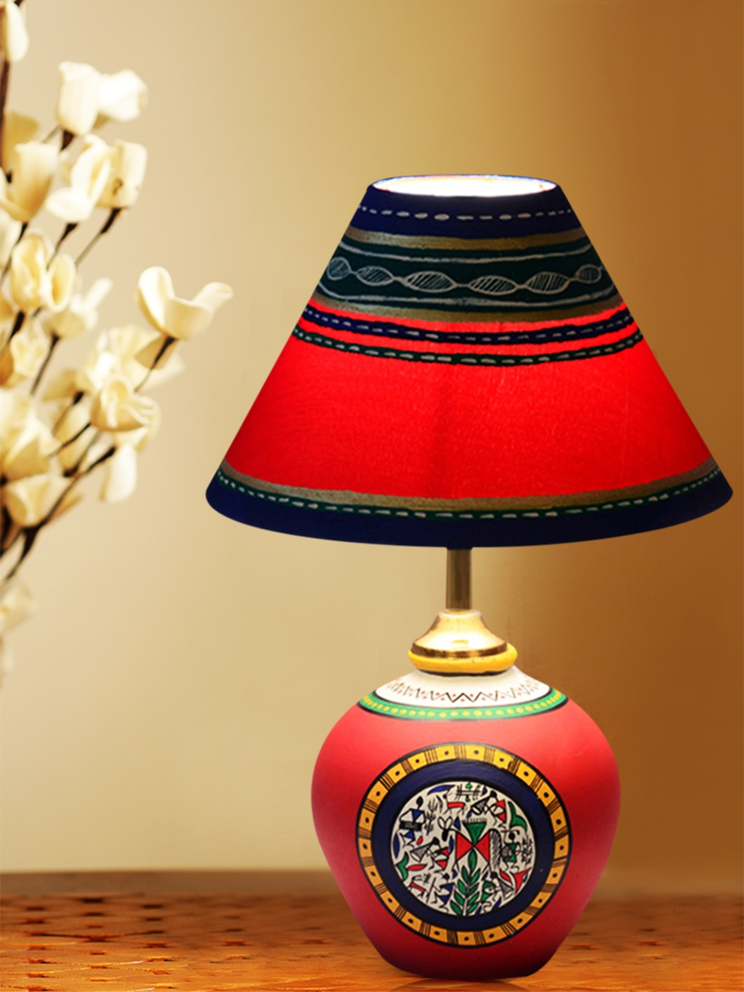 Buy exclusivelane red terracotta hand painted warli matki lamp with image aloadofball Image collections
