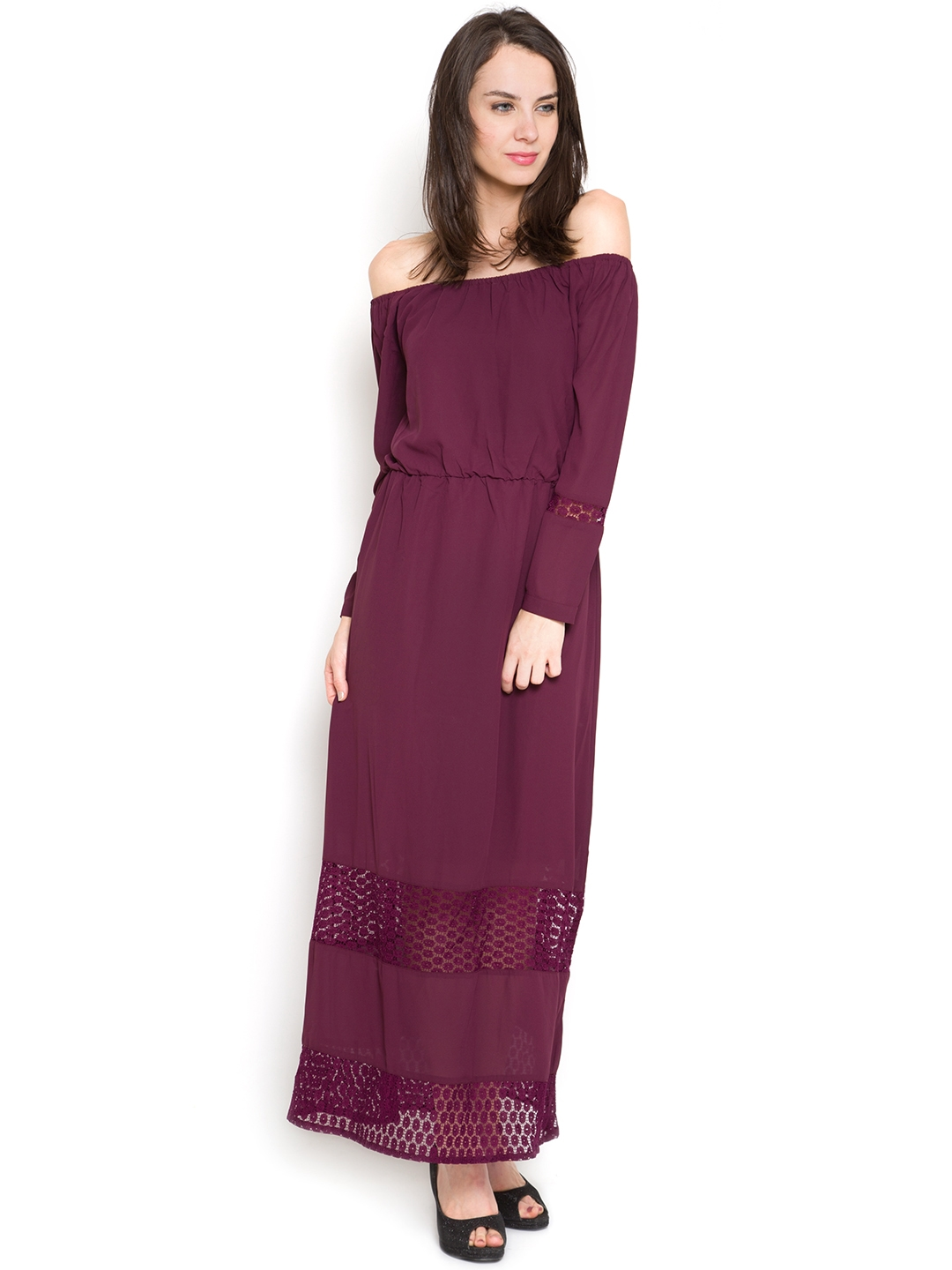 7be87129ea76 Buy Tokyo Talkies Women Burgundy Maxi Dress - Dresses for Women ...