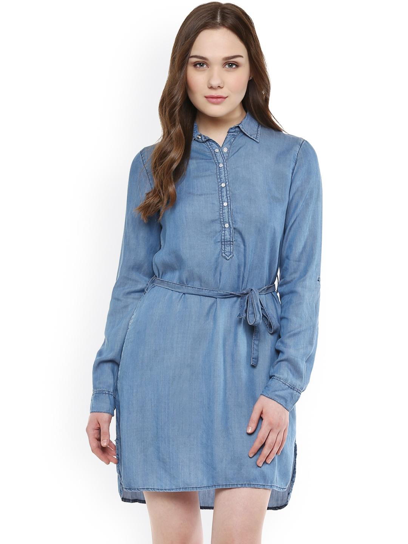 3fd6c6574e1 Buy StyleStone Women Blue Denim Solid Shirt Dress - Dresses for ...