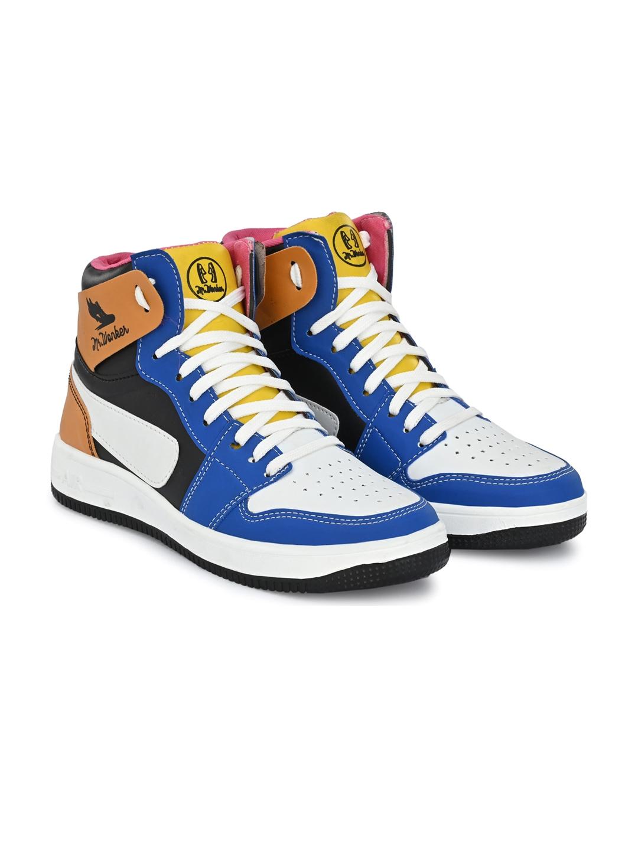 mr wonker Men White Angry Birds Colourblocked High Top Sneakers