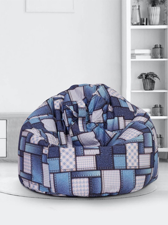 SAKA DESIGNS White and Blue Digital Print Canvas XXL Bean Bag Cover