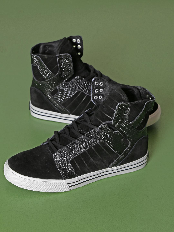 d5b38dab0e7d Buy Supra Men Black Skytop Textured High Top Suede Sneakers - Casual ...