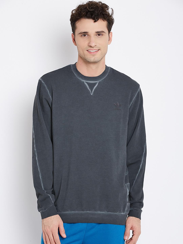 d137bff34d6 ADIDAS Originals Charcoal Grey ST MOD Crew Dye Panelled Sweatshirt