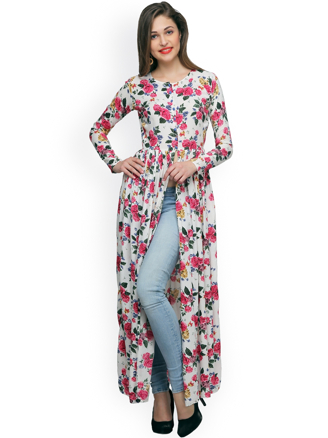 b9a9b674ef5a07 Buy Cation Women White Printed Maxi Top - Tops for Women 1588241 ...