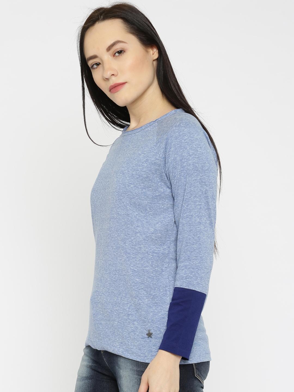 b1691679214 Buy Wrangler Women Blue Solid Round Neck T Shirt - Tshirts for Women ...