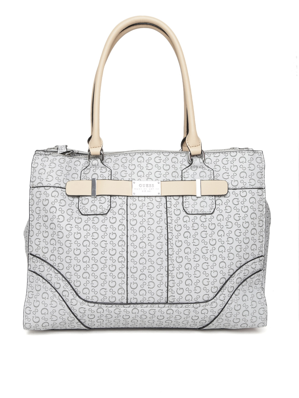 61d00cdf0ac3 Buy GUESS Grey Logo Textured Shoulder Bag - Handbags for Women ...
