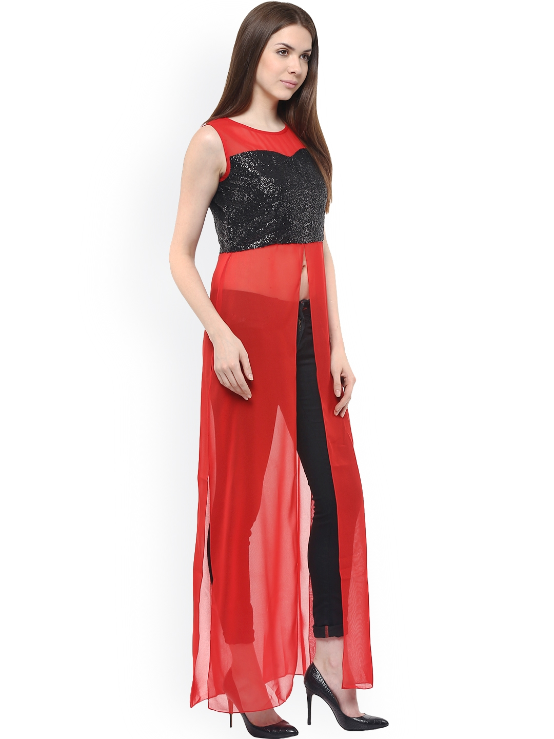 d8991b20552a1d Buy Athena Women Red Solid Maxi Top - Tops for Women 1592678