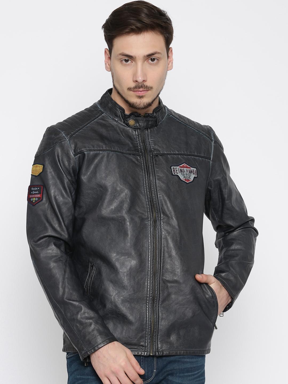 Buy Being Human Clothing Navy Blue Biker Jacket Jackets For Men