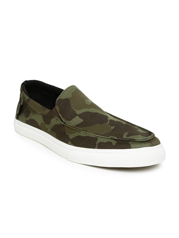 cb39cf530b Buy Vans Men Olive Green   Brown Camouflage Print Slip On Sneakers ...