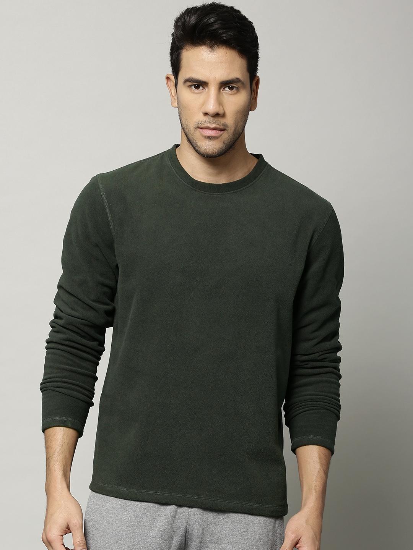 79297fa35847 Buy Marks & Spencer Men Olive Green Stay New Fleece Thermal T Shirt ...