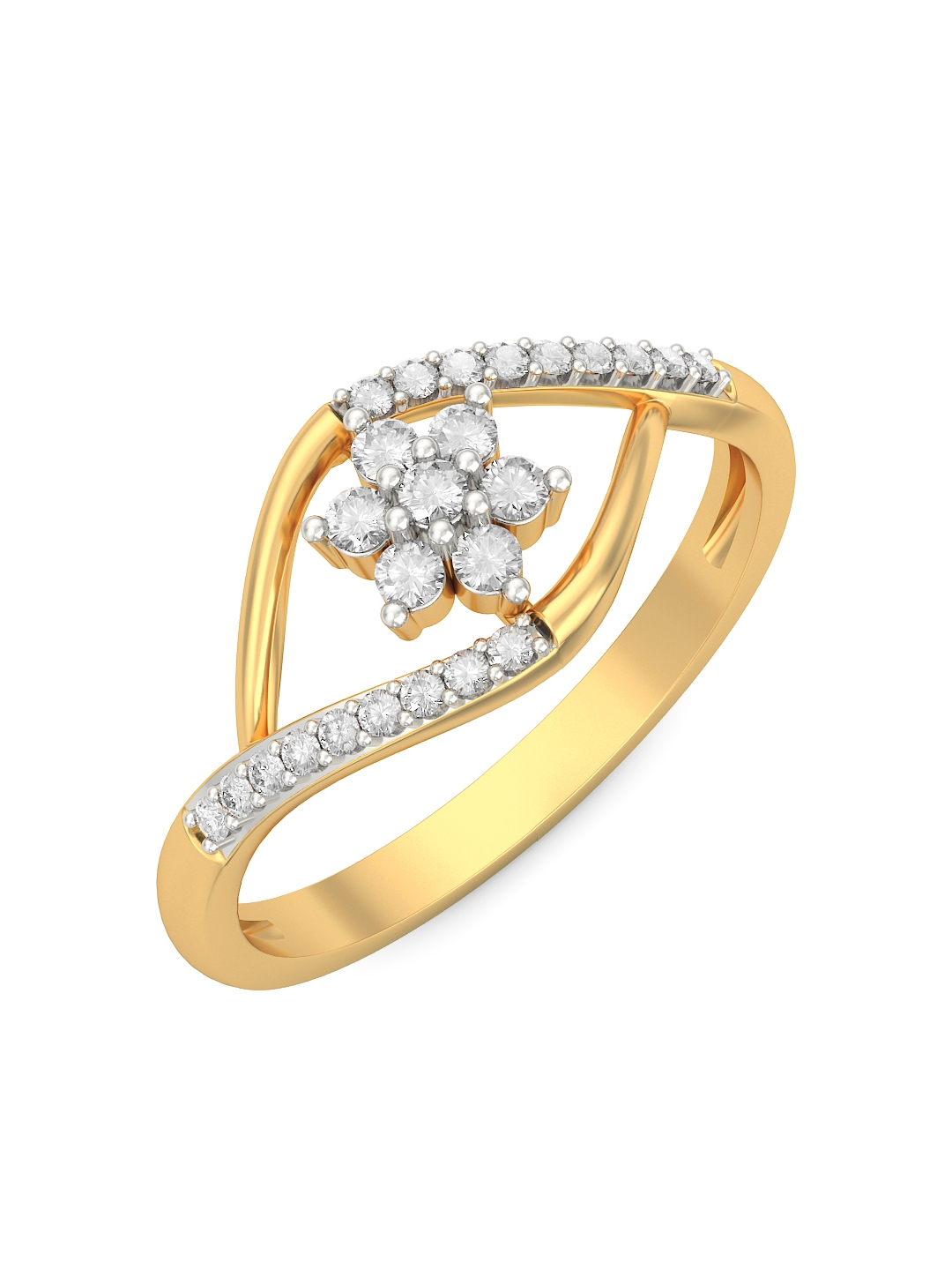 Buy BlueStone 1.464 G 14 Karat Gold Cedi Ring With Diamonds - Ring ...