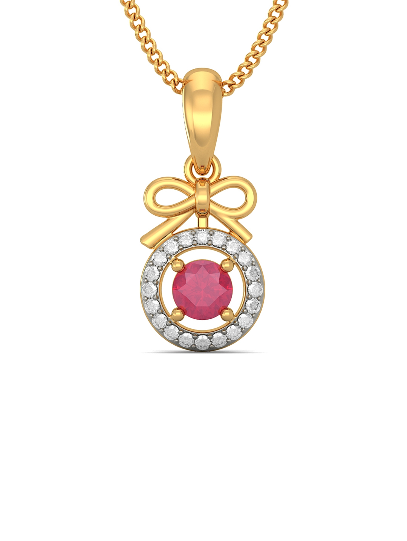 BlueStone 0.887 g 18KT Gold Karlitha Pendant with Diamonds   Ruby BlueStone Pendant Diamond