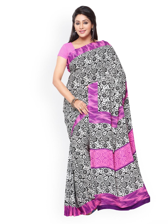 9a522902ee Buy Satrani Black & White Italian Crepe Floral Print Saree - Sarees ...