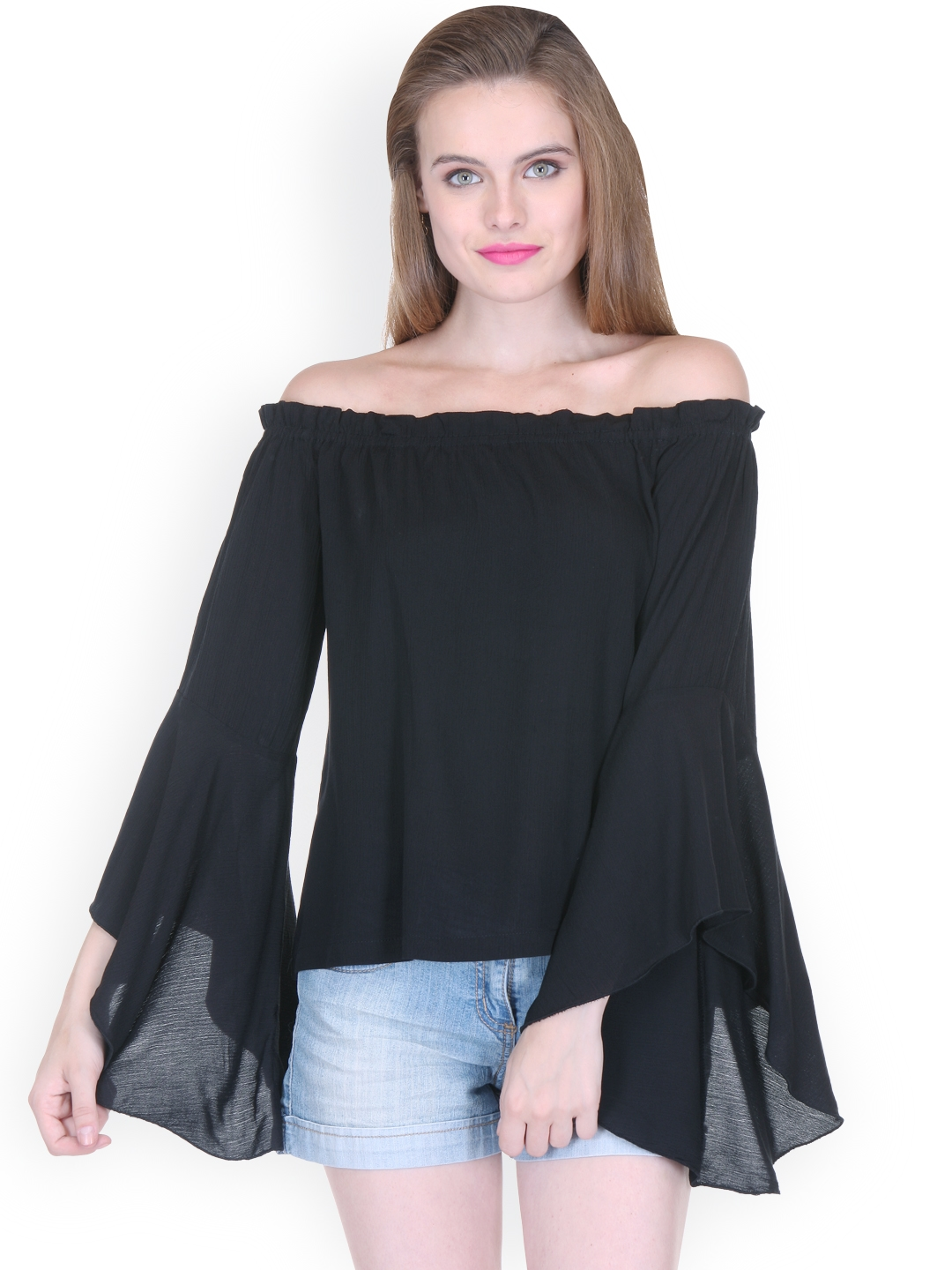 3d72b7ff45a7 Buy Zastraa Women Black Solid Off Shoulder Top - Tops for Women ...