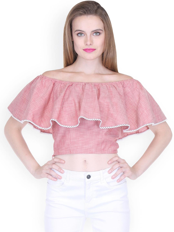 3c957bb50541b Buy Zastraa Women Pink Solid Off Shoulder Crop Top - Tops for Women ...