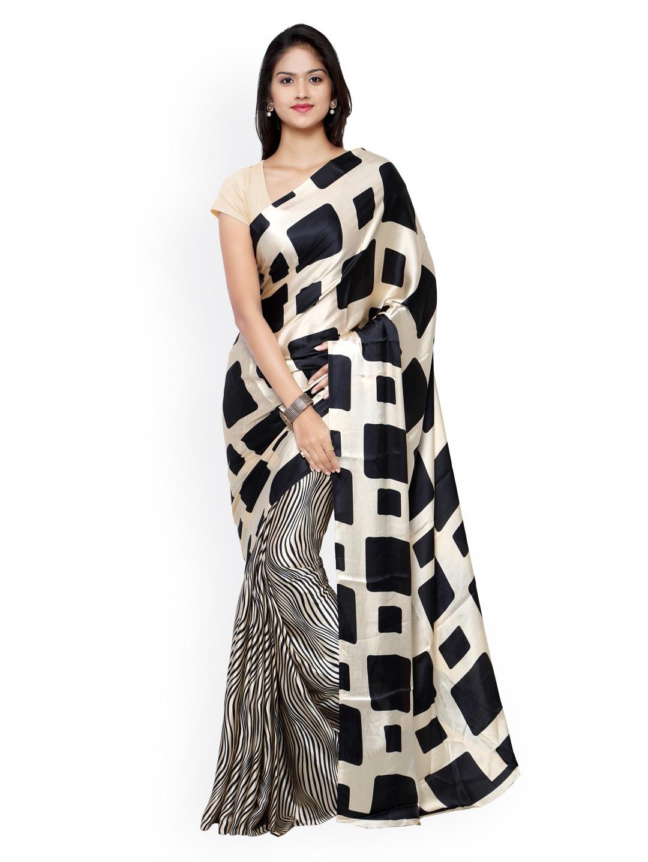 1e180d04bd Buy Saree Mall Black & Cream Coloured Crepe Printed Saree - Sarees ...