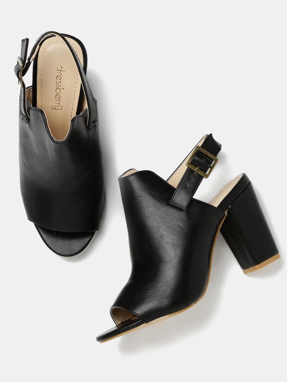 f08cc10ee5b7 Buy DressBerry Women Black Solid Block Heels - Heels for Women ...