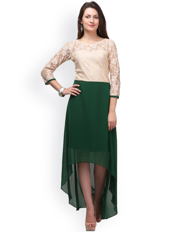 87900b2a1d2 Buy Eavan Women Beige Lace High Low Maxi Dress - Dresses for Women ...