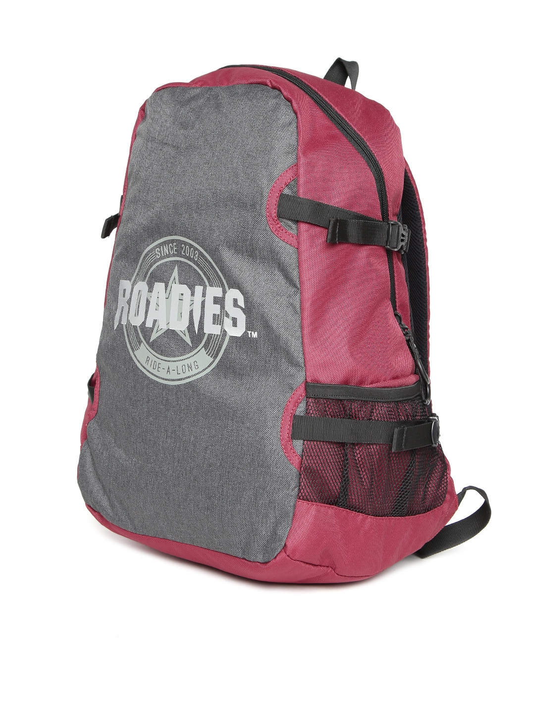 Roadies by THe VerTicaL Unisex Charcoal Grey   Maroon Printed Laptop  Backpack 8c78b0fe9f29a