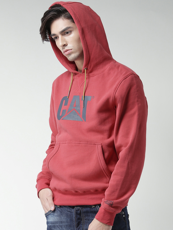 6123b63c9dd5 Buy CAT Red Design Mark Printed Hooded Sweatshirt - Sweatshirts for ...