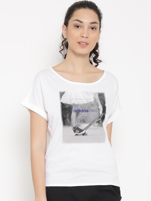 ADIDAS NEO Women White Printed Round Neck T shirt