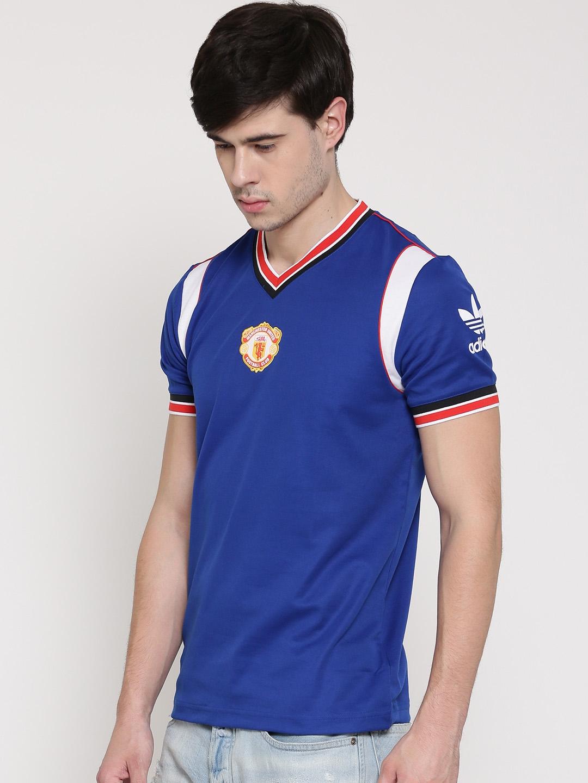 18107a5c0 Adidas Originals Men Blue Manchester United 85 H Applique Detail V-Neck  Jersey T-shirt