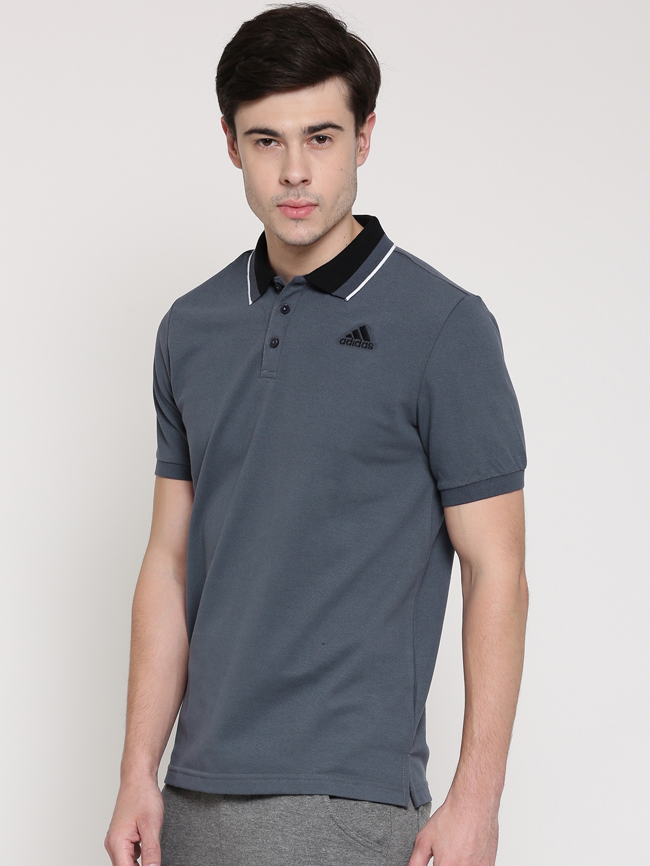 dc21bb3f Buy ADIDAS Men Grey ESS Solid Polo Collar T Shirt - Tshirts for Men ...