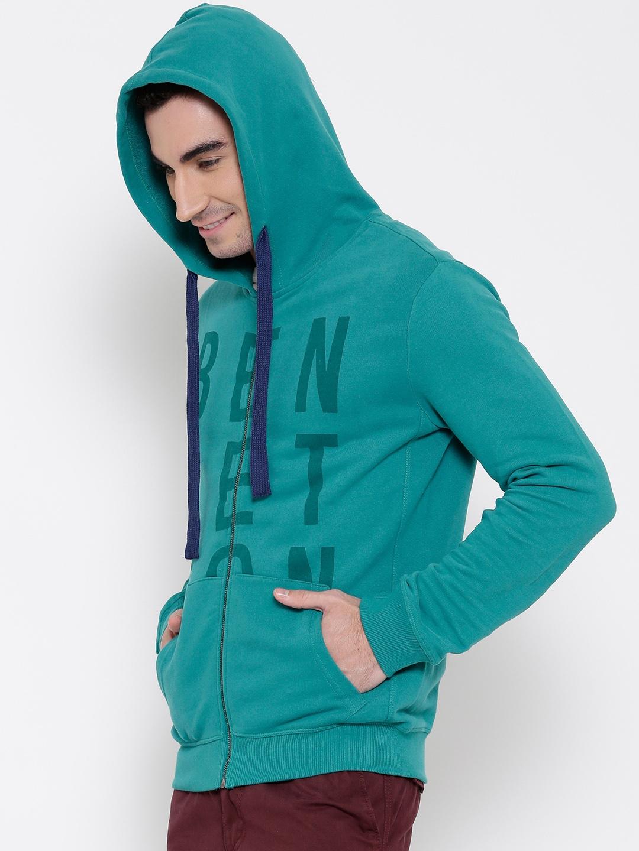 3bda311e15 Buy United Colors Of Benetton Teal Green Printed Hooded Sweatshirt ...