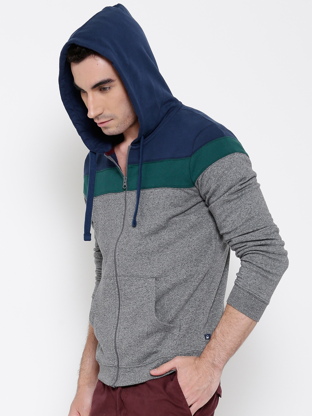 a601a364c1 Buy United Colors Of Benetton Grey Colourblocked Hooded Sweatshirt ...