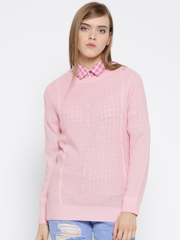 People Women Light Pink Patterned Sweater
