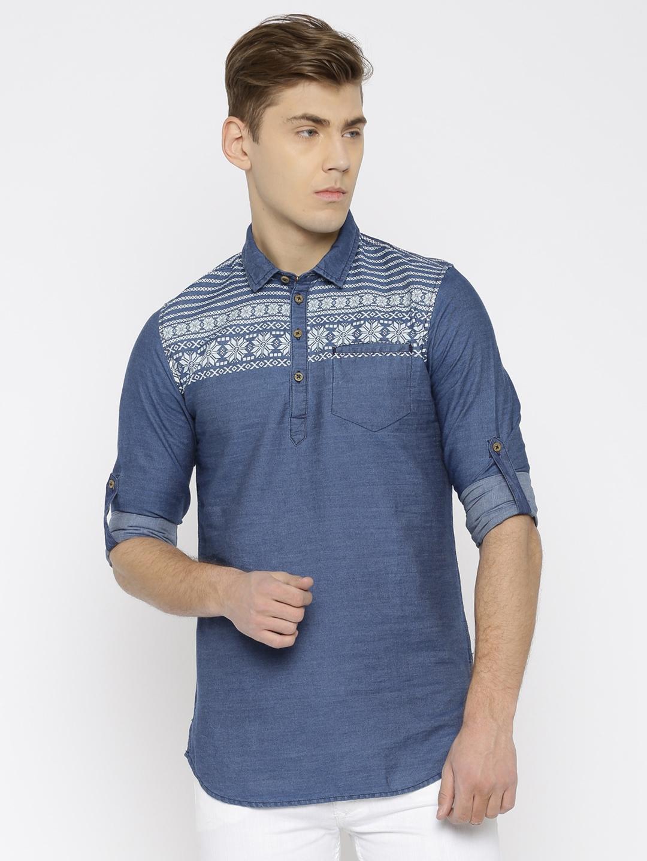 2656cee68f Buy The Indian Garage Co Men Blue Shirt Style Denim Kurta - Kurtas ...