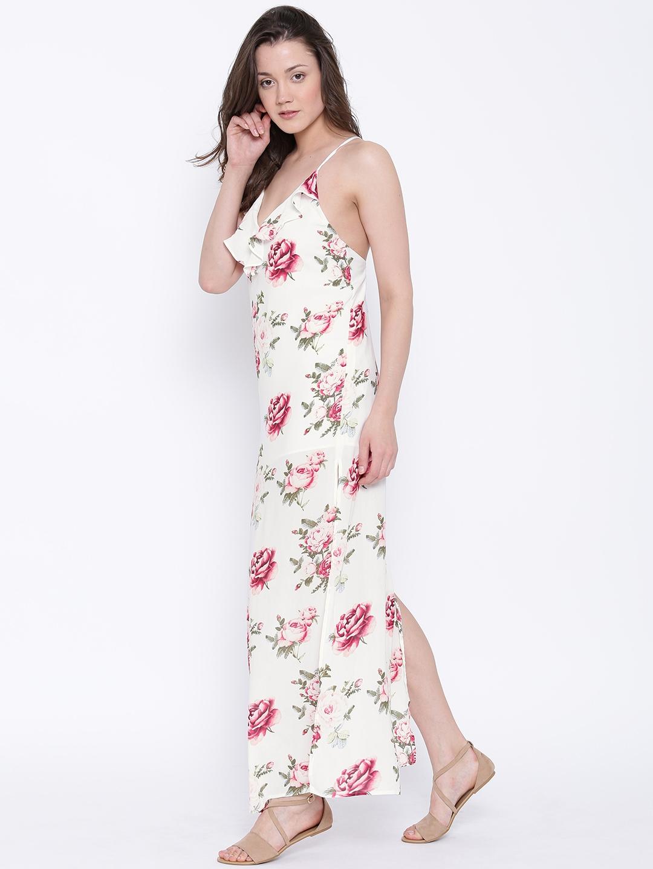 9cafea51553b Buy FOREVER 21 Women White   Pink Semi Sheer Printed Maxi Dress ...