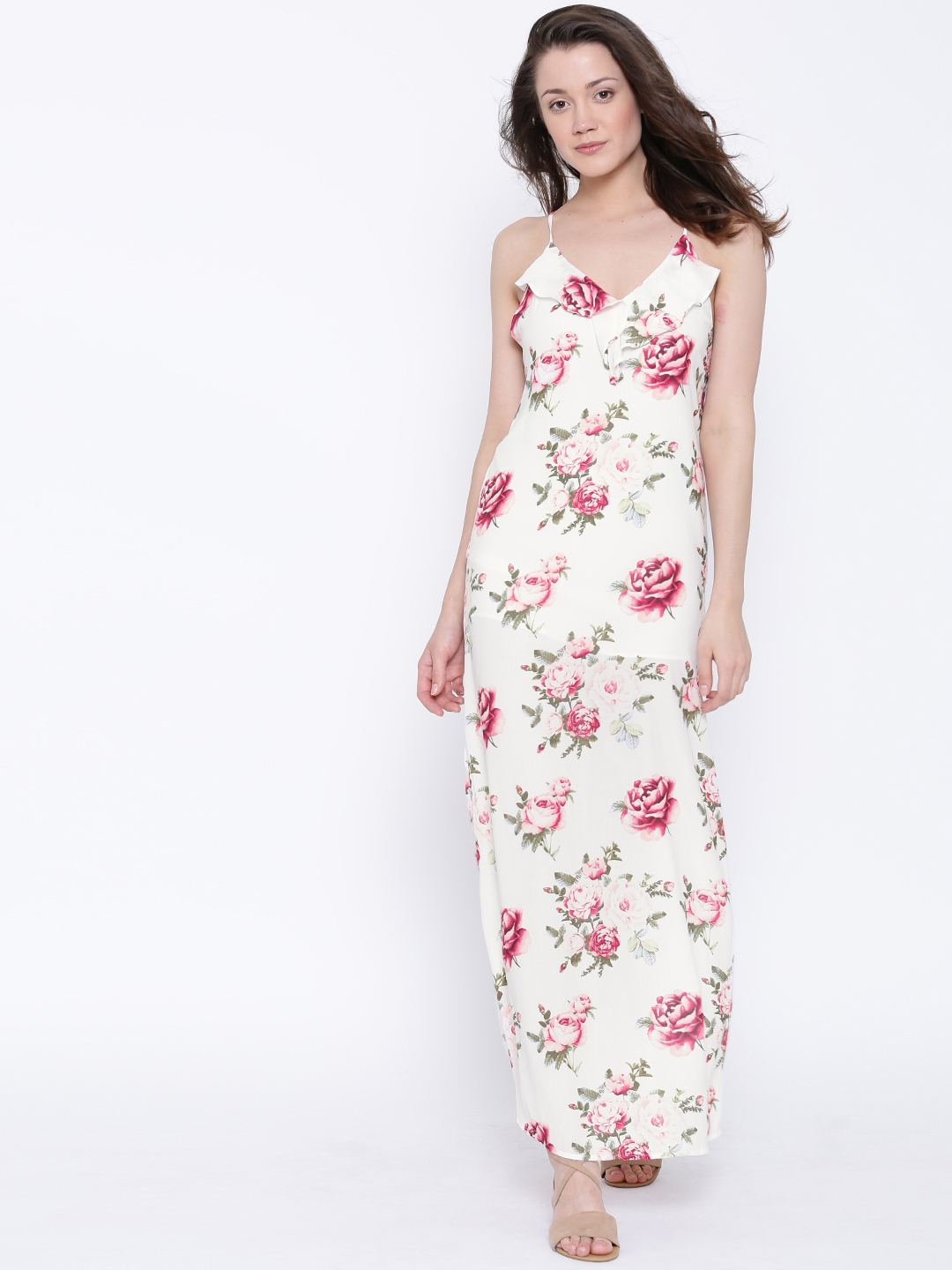 3bf7d134a480 Buy FOREVER 21 Women White   Pink Semi Sheer Printed Maxi Dress - Dresses  for Women 1621175